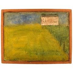 Lili Ege, Danish Painter, Oil on Board, Modernist Field Landscape