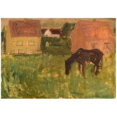 Lili Ege '1913-2004', Danish Painter, Oil on Canvas, Modernist Landscape, 1950s