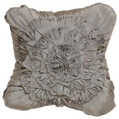 Lili Piazza Large Modern Gray Distressed Floral Pillow