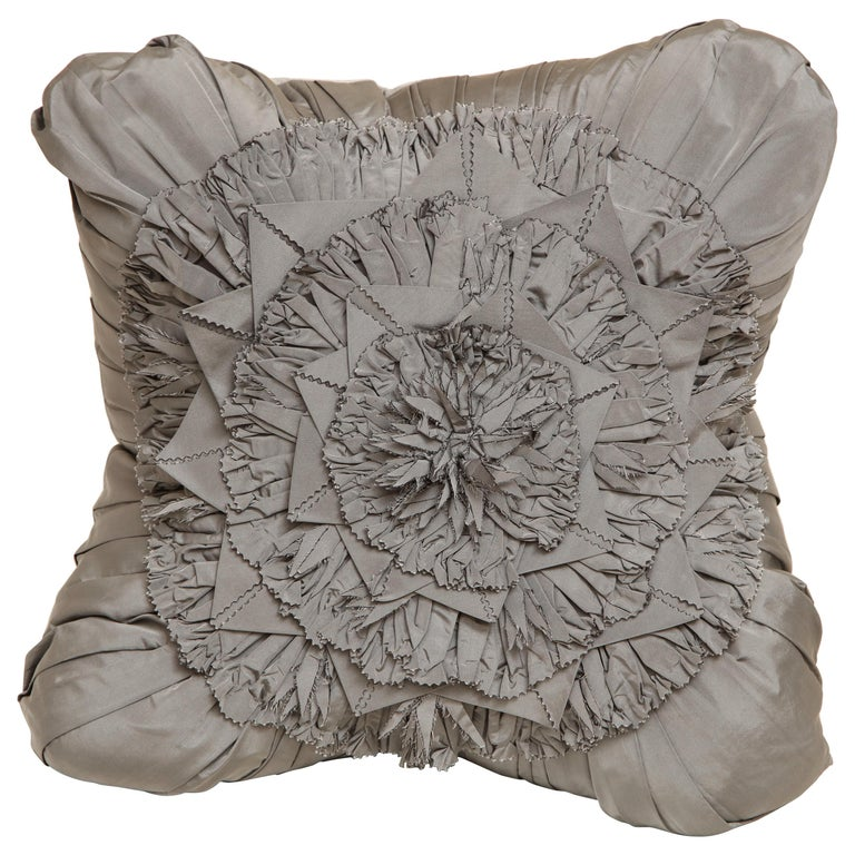 Lili Piazza Large Modern Gray Distressed Floral Pillow For Sale