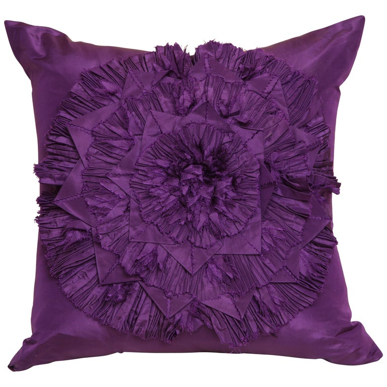 Lili Piazza Large Modern Purple Distressed Floral Pillow For Sale