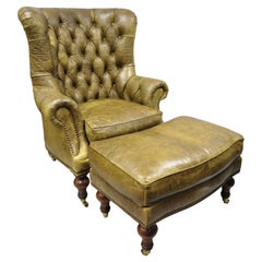 Lilian August Brown Green Leather Tufted Chesterfield Club Lounge Chair Ottoman