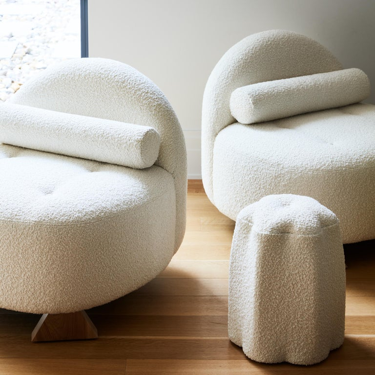 Lilian Club Chair, Ivory Bouclé Lounge Chair by Christian Siriano In New Condition For Sale In New York, NY