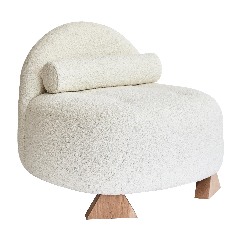Lilian Club Chair, Ivory Bouclé Lounge Chair by Christian Siriano