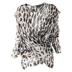 Liliane Romi Vintage Silk Chiffon Leopard Print Blouse