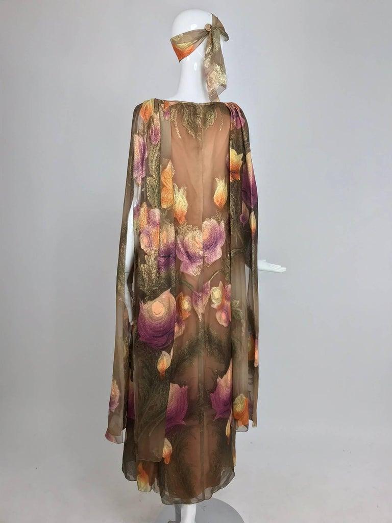 Lilija Nicis hand painted metallic silk chiffon gown, 1960s For Sale 5