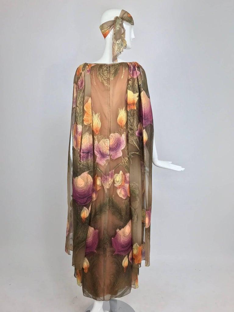 Lilija Nicis hand painted metallic silk chiffon gown, 1960s For Sale 6