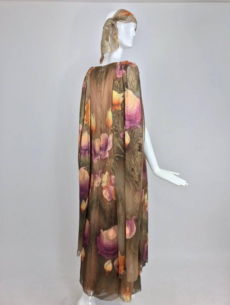 Lilija Nicis hand painted metallic silk chiffon gown, 1960s For Sale 7