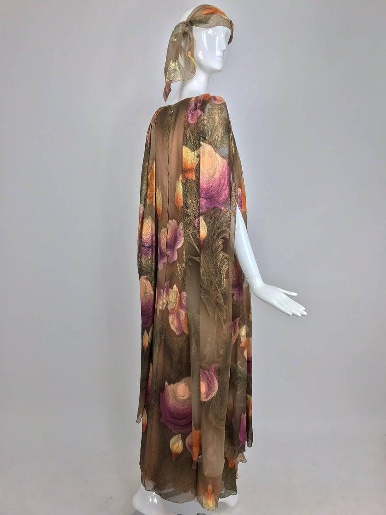 Lilija Nicis hand painted metallic silk chiffon gown, 1960s For Sale 8
