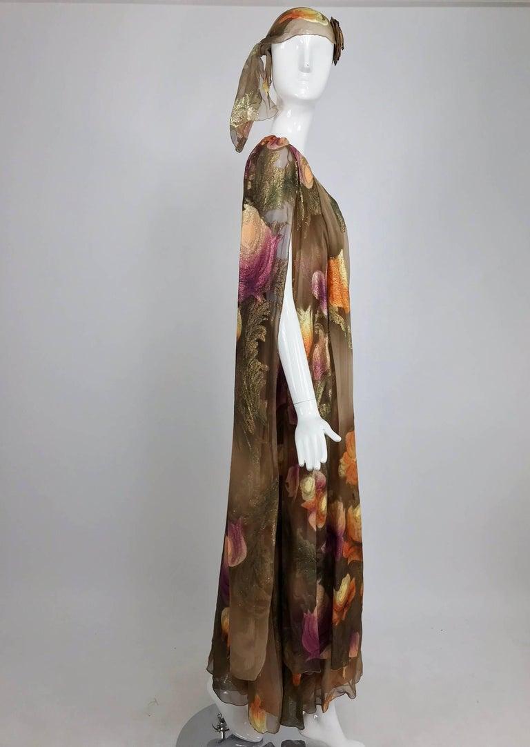 Lilija Nicis hand painted metallic silk chiffon gown, 1960s For Sale 9