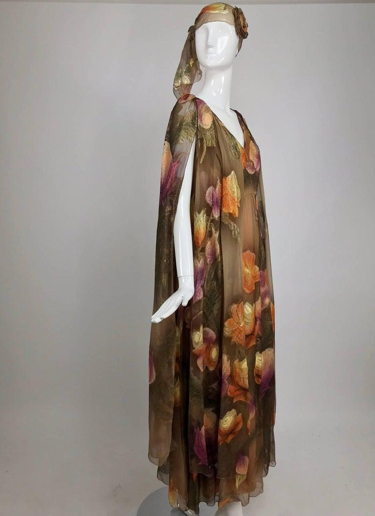 Lilija Nicis hand painted metallic silk chiffon gown, 1960s For Sale 10