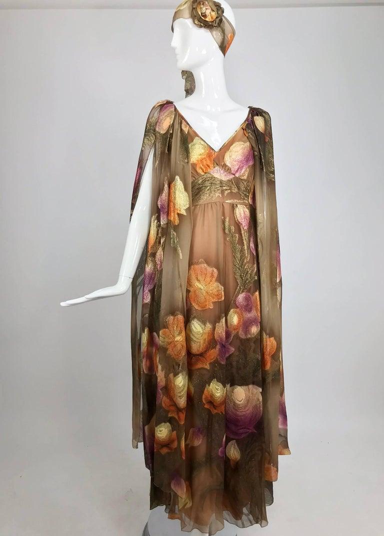 Lilija Nicis hand painted metallic silk chiffon gown, 1960s For Sale 11
