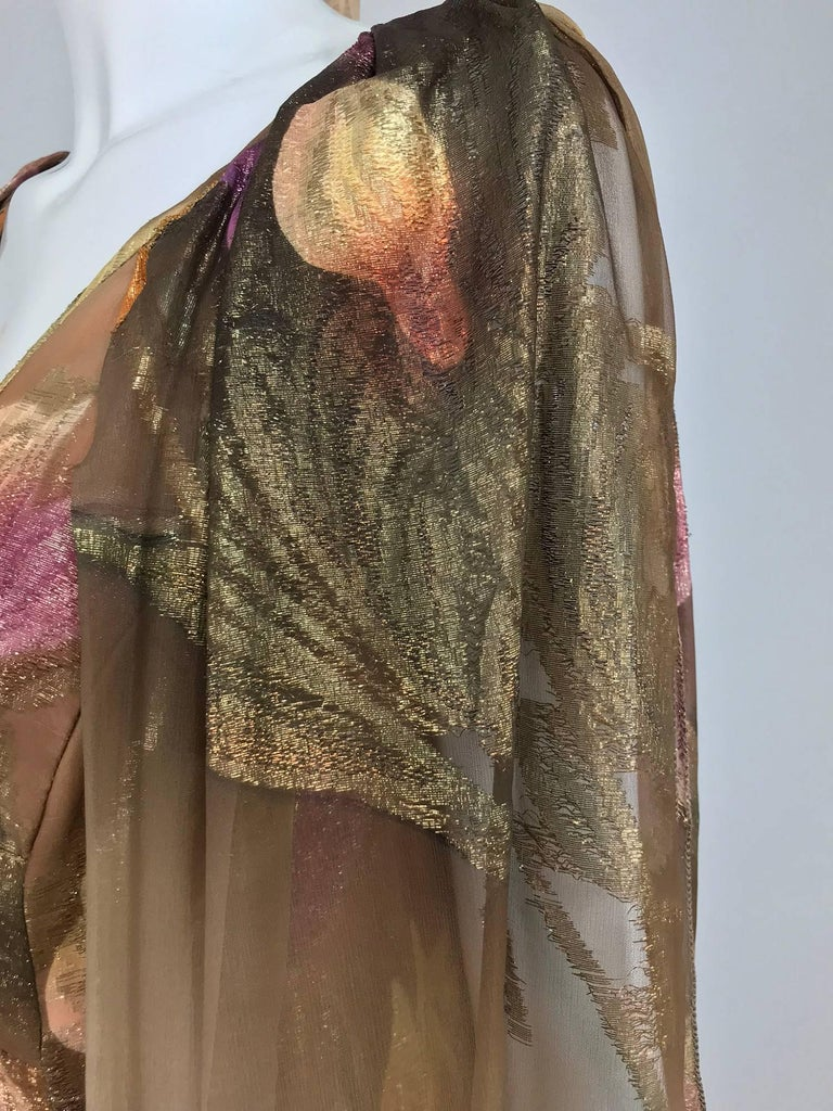 Lilija Nicis hand painted metallic silk chiffon gown, 1960s In Excellent Condition For Sale In West Palm Beach, FL