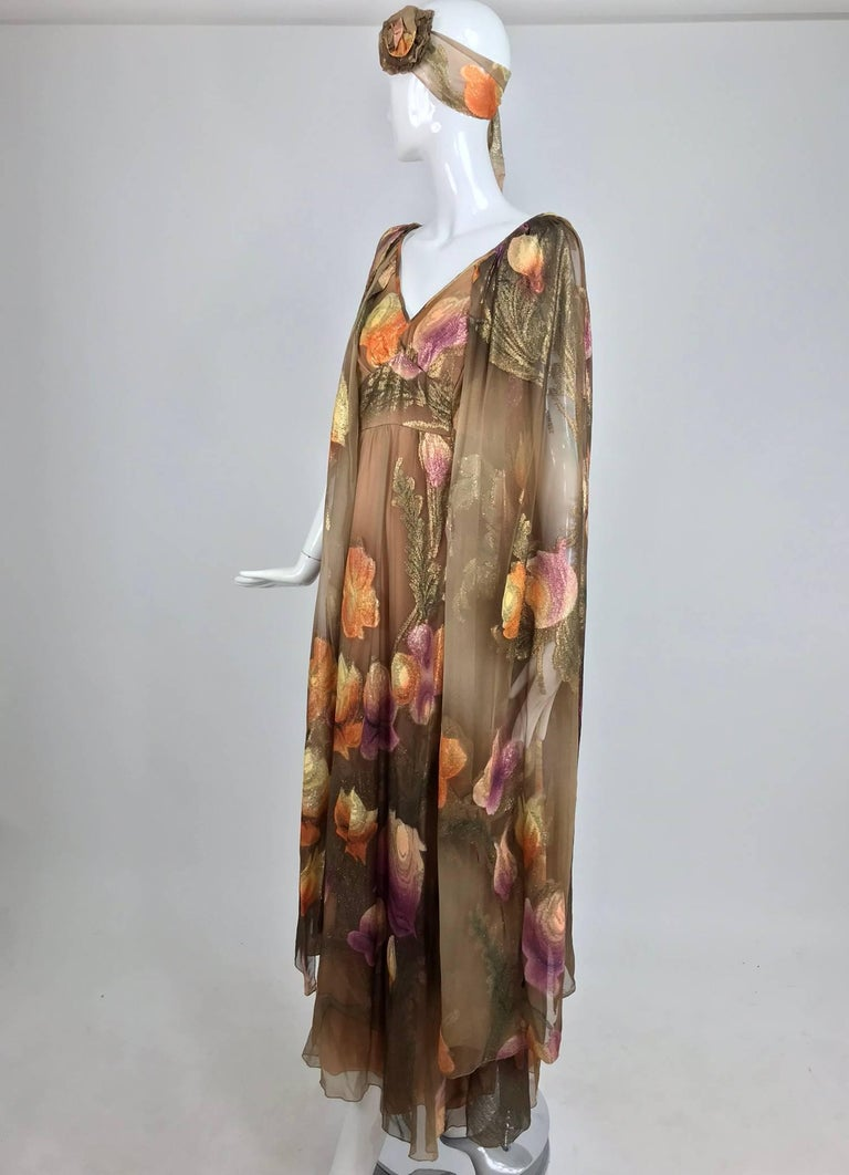 Women's Lilija Nicis hand painted metallic silk chiffon gown, 1960s For Sale