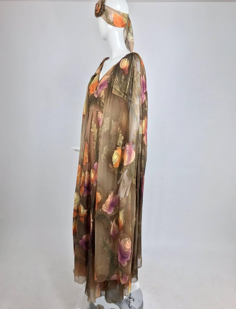 Lilija Nicis hand painted metallic silk chiffon gown, 1960s For Sale 1