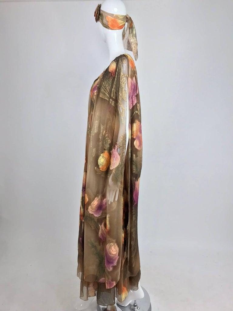 Lilija Nicis hand painted metallic silk chiffon gown, 1960s For Sale 2