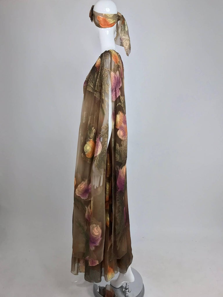 Lilija Nicis hand painted metallic silk chiffon gown, 1960s For Sale 3