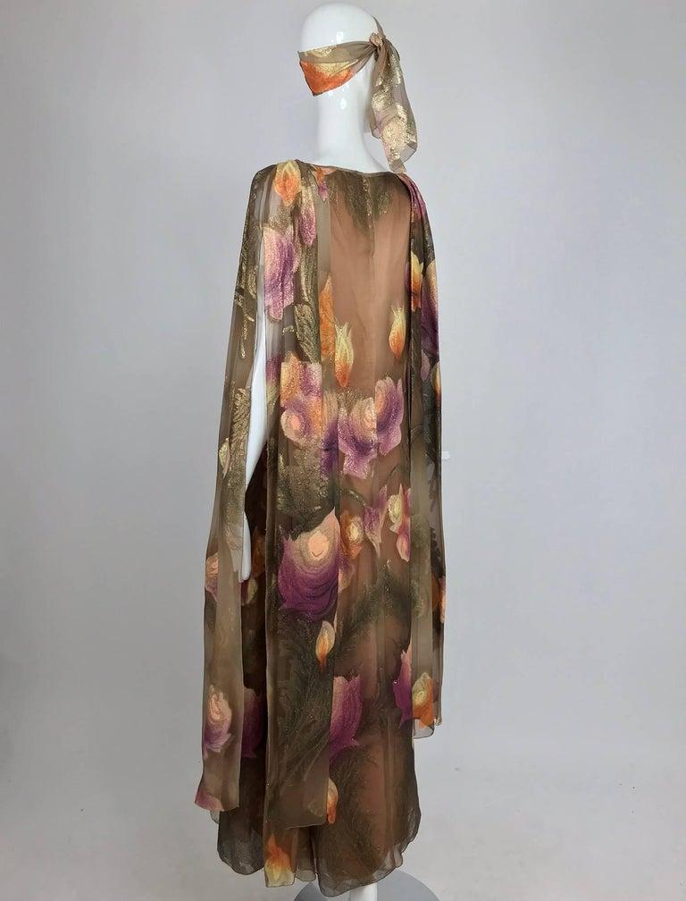 Lilija Nicis hand painted metallic silk chiffon gown, 1960s For Sale 4