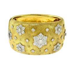 Lililia 18 Karat Yellow Gold Wide Bangle with Diamonds