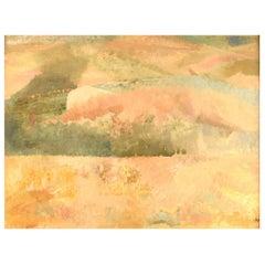 Lillebet Foss, Norwegian Artist, Modernist Landscape, Oil on Board