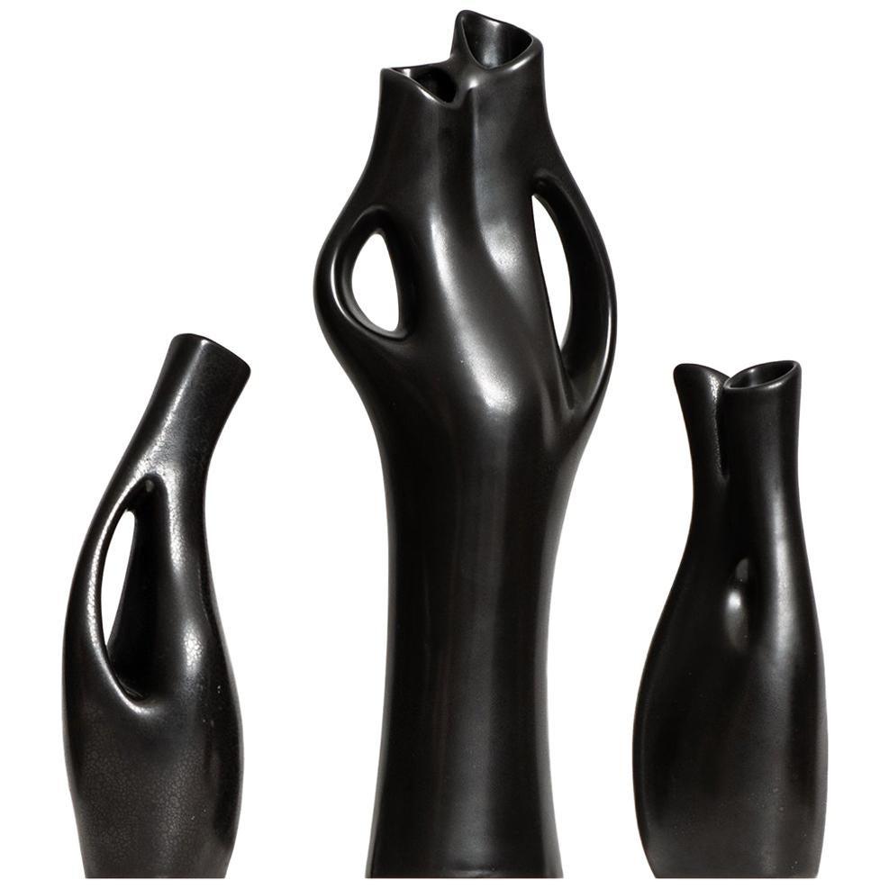Lillemor Mannerheim stoneware vases Mangania by Upsala Ekeby in Sweden