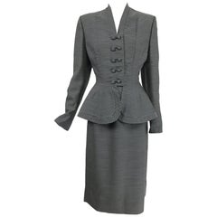 Lilli Ann 1940s Nip Waist Peplum Hem Black & White Stripe Wool Skirt Suit