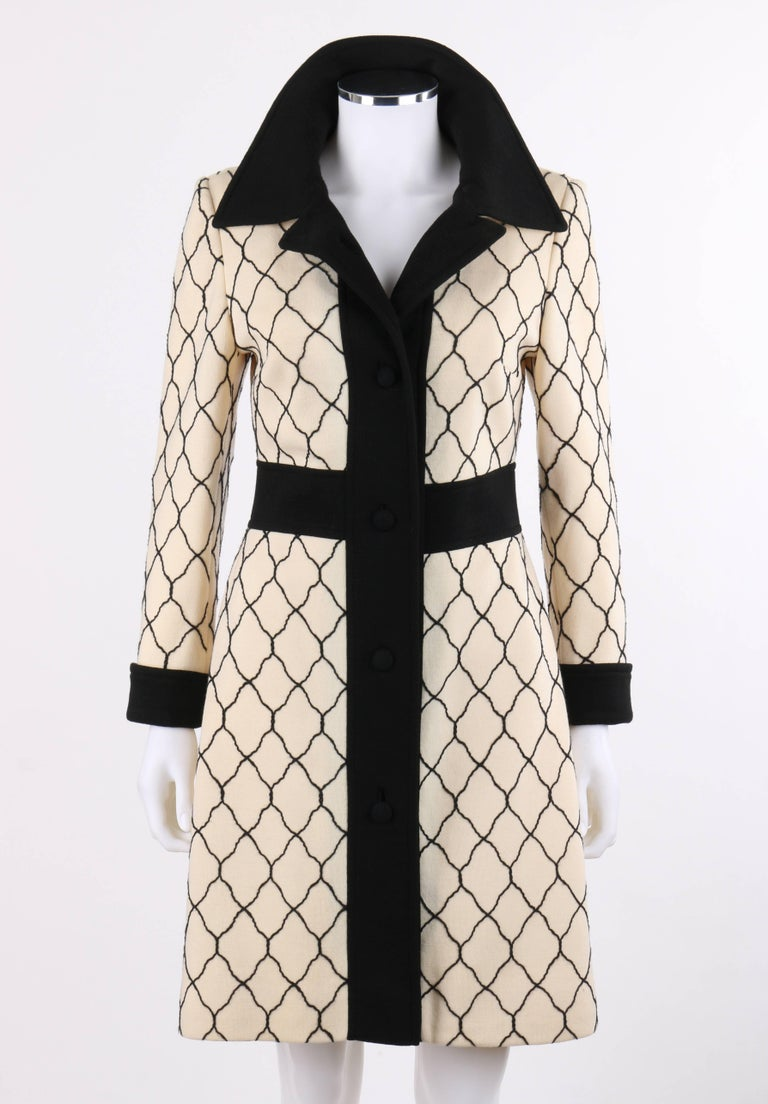LILLI ANN Knit c.1960\'s Cream and Black Quatrefoil Lattice Pattern ...