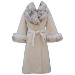 Lilli Ann Knit Coat With Fox Fur Collar & Bell Cuffs, 1960's