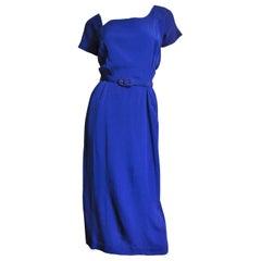 Lilli Ann New Asymmetric Neckline Purple Silk Dress 1940s