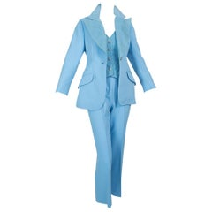Lilli Ann Paris Powder Blue 3-Piece Urbane Cowgirl Pant Suit – XS, 1970s