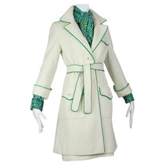 Lilli Ann Springtime Air Hostess Dress Suit with Piped Trench Coat - XS, 1960s