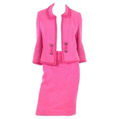 Lilli Ann Vintage 1960s Hot Pink Wool Boucle Jacket W Chain Hem and Skirt Suit