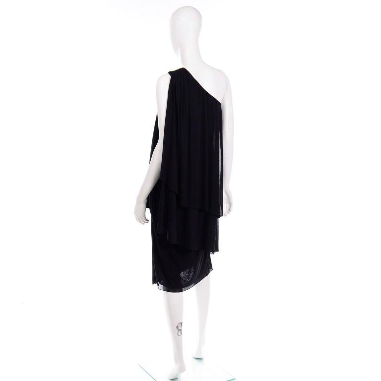 Women's Lilli Diamond Vintage Black 1970s One Shoulder Grecian Evening Dress w Jewel For Sale