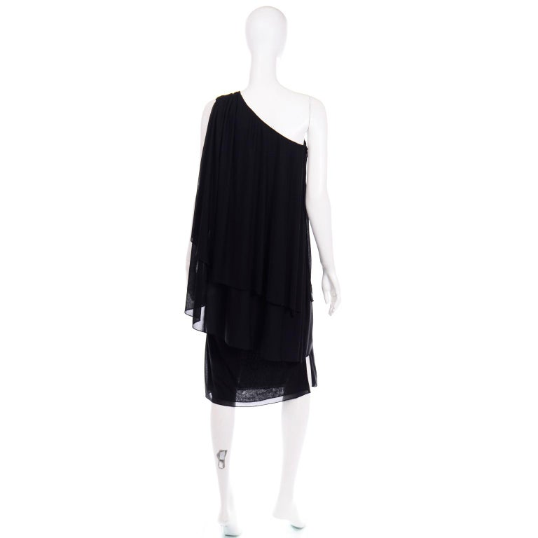 Lilli Diamond Vintage Black 1970s One Shoulder Grecian Evening Dress w Jewel For Sale 1