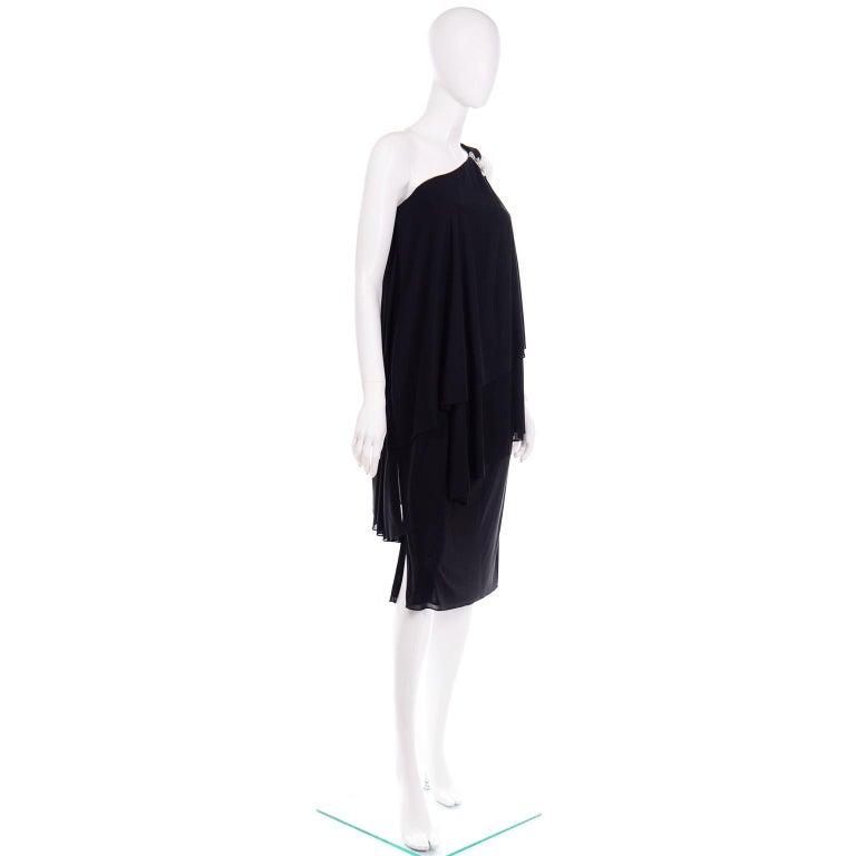 Lilli Diamond Vintage Black 1970s One Shoulder Grecian Evening Dress w Jewel For Sale 2