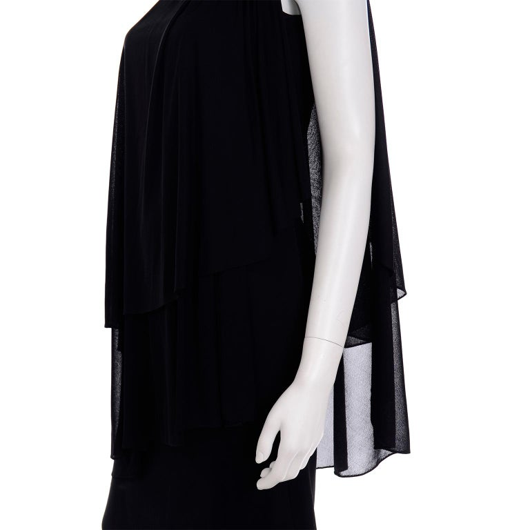 Lilli Diamond Vintage Black 1970s One Shoulder Grecian Evening Dress w Jewel For Sale 3