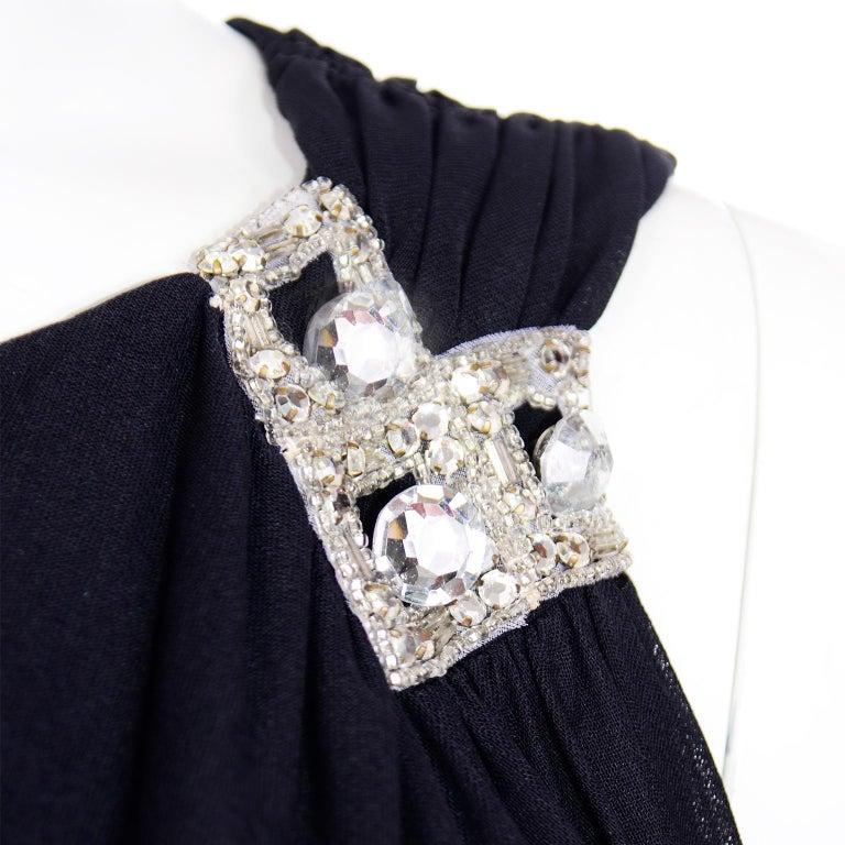 Lilli Diamond Vintage Black 1970s One Shoulder Grecian Evening Dress w Jewel For Sale 4