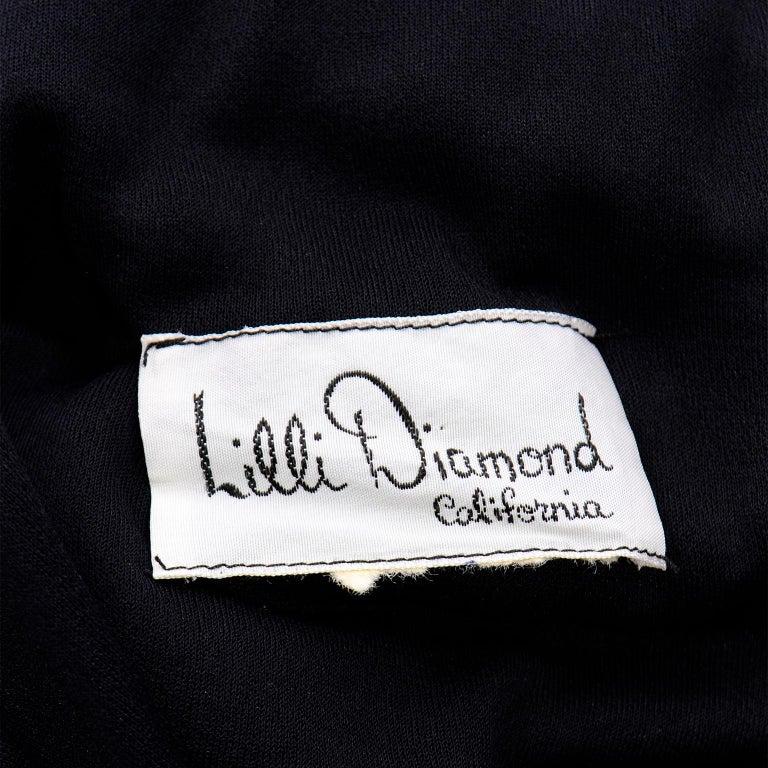 Lilli Diamond Vintage Black 1970s One Shoulder Grecian Evening Dress w Jewel For Sale 5