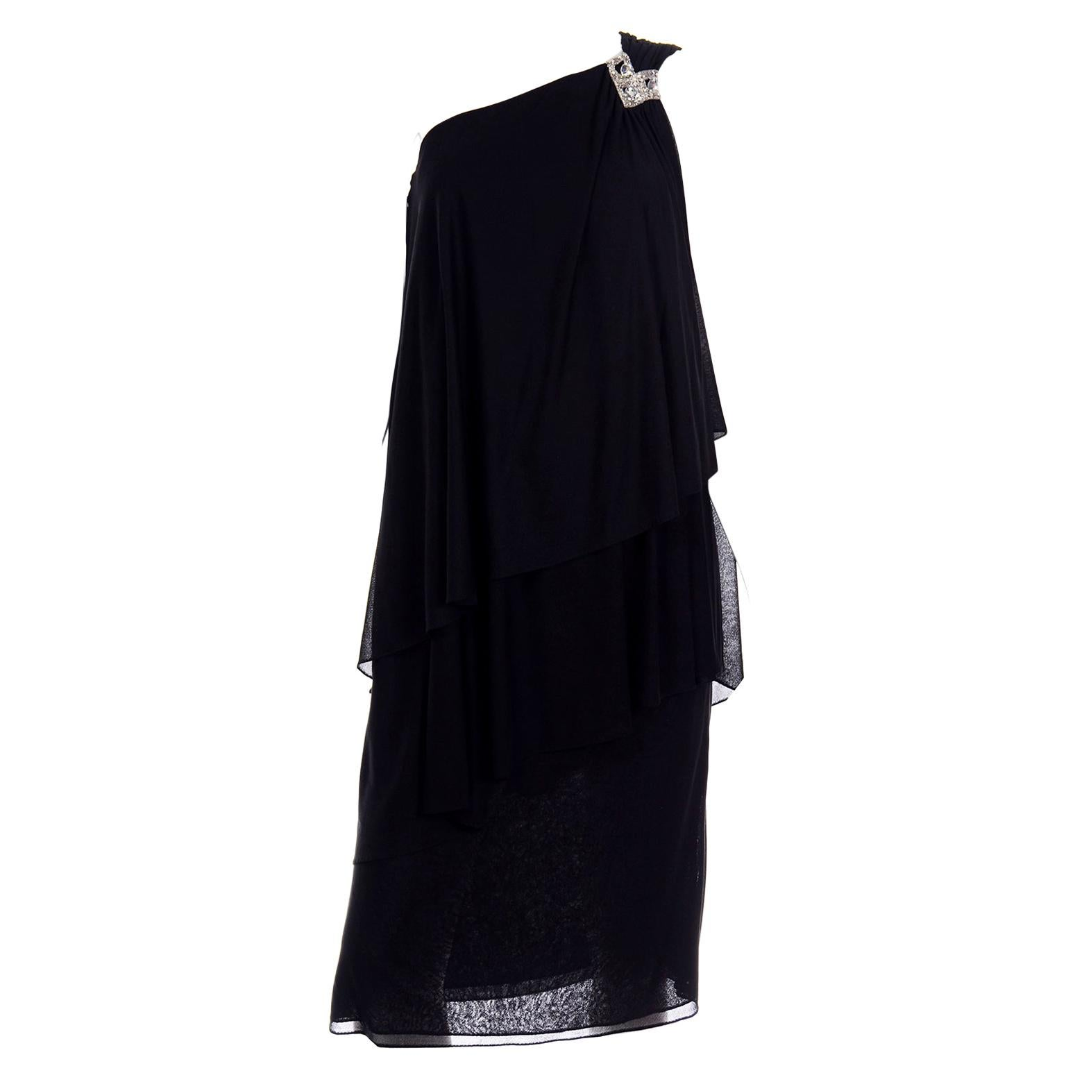 Lilli Diamond Vintage Black 1970s One Shoulder Grecian Evening Dress w Jewel