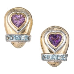 Lilli Heart Amethyst Square Aquamarine Clip Post Gold Earrings