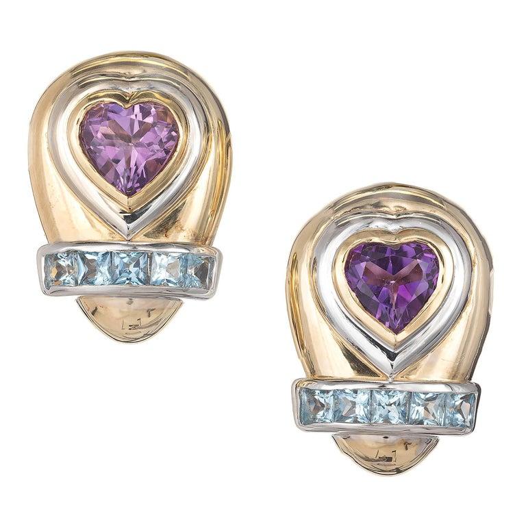 Lilli Heart Amethyst Square Aquamarine Clip Post Gold Earrings