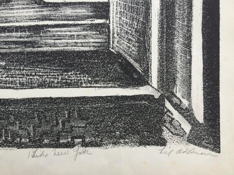 I LIKE NEW YORK (Actual WPA Print) - Gray Landscape Print by Lillian Adelman