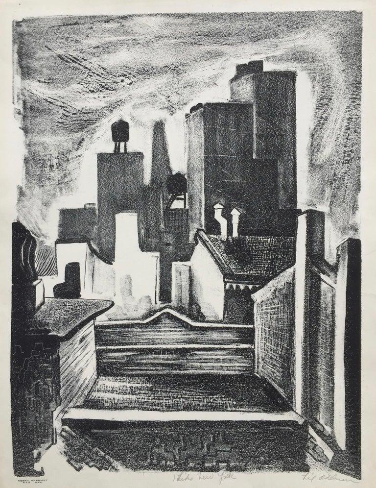 Lillian Adelman Landscape Print - I LIKE NEW YORK (Actual WPA Print)
