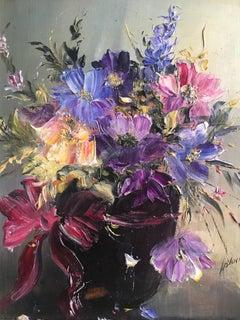 Purple Floral Arrangement, Oil Painting, Signed