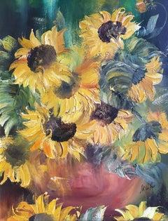 Sunflowers, Impressionist Oil Painting
