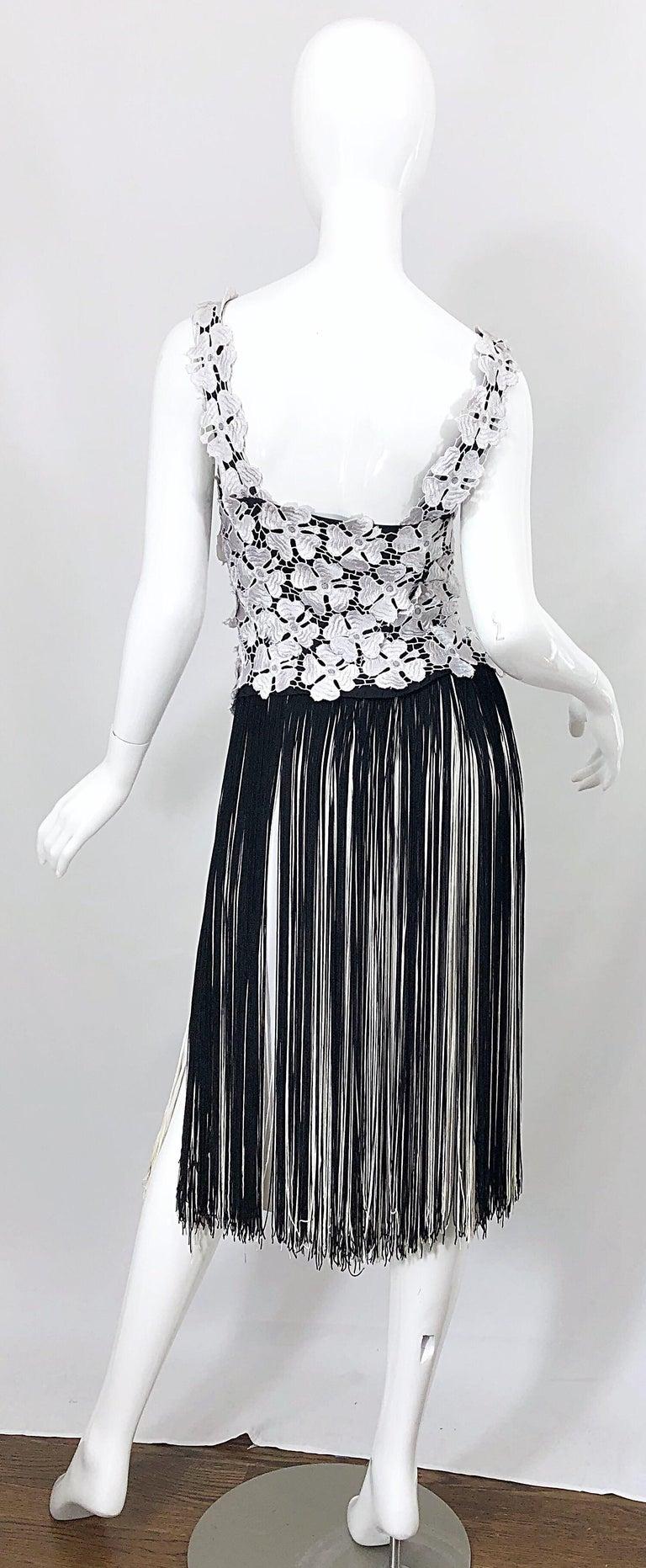 Lillie Rubin 1970s Black And White Flapper Style Crochet