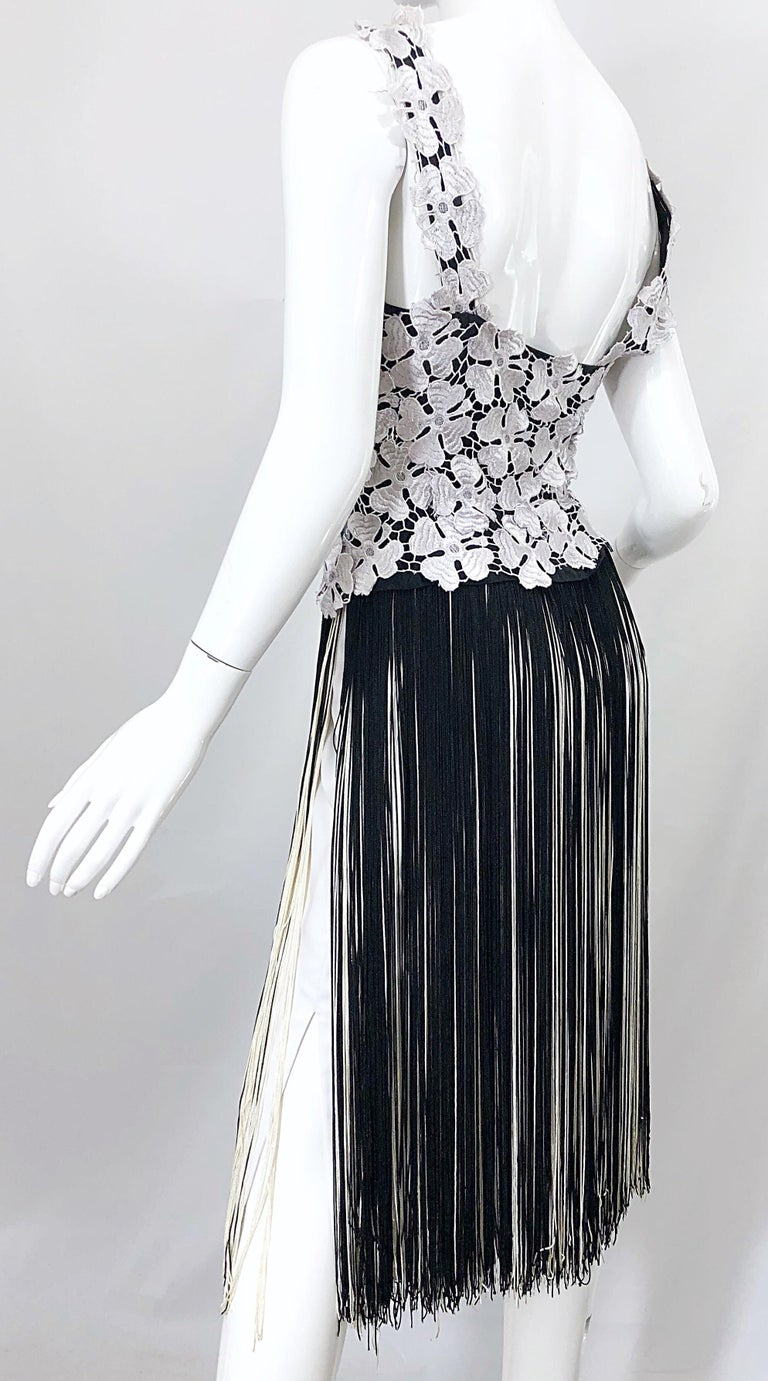 Lillie Rubin 1970s Black And White Flapper Style Crochet