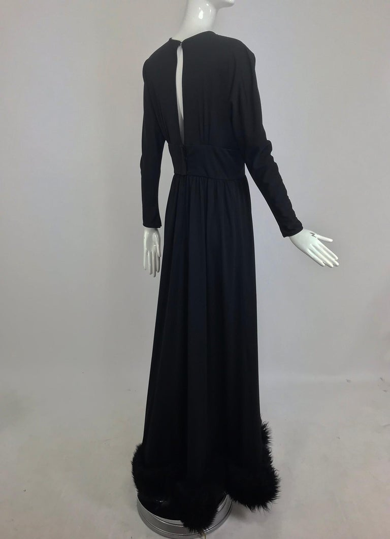 Lillie Rubin Black Fur Hem Plunge Neck Black Jersey Maxi Dress 1970s For Sale 6