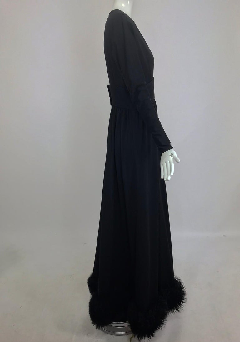 Lillie Rubin Black Fur Hem Plunge Neck Black Jersey Maxi Dress 1970s For Sale 7