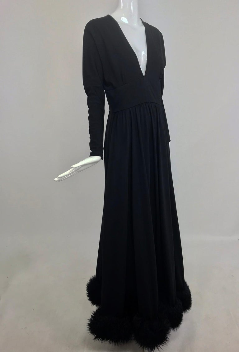 Lillie Rubin Black Fur Hem Plunge Neck Black Jersey Maxi Dress 1970s For Sale 8
